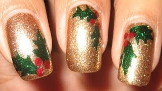 Holly Leaves & Berries Nail Art Tutorial