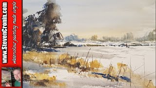 Winter fields of snow watercolour painting