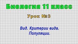Биология 11 класс (Урок№3 - Вид. Критерии вида. Популяции.)