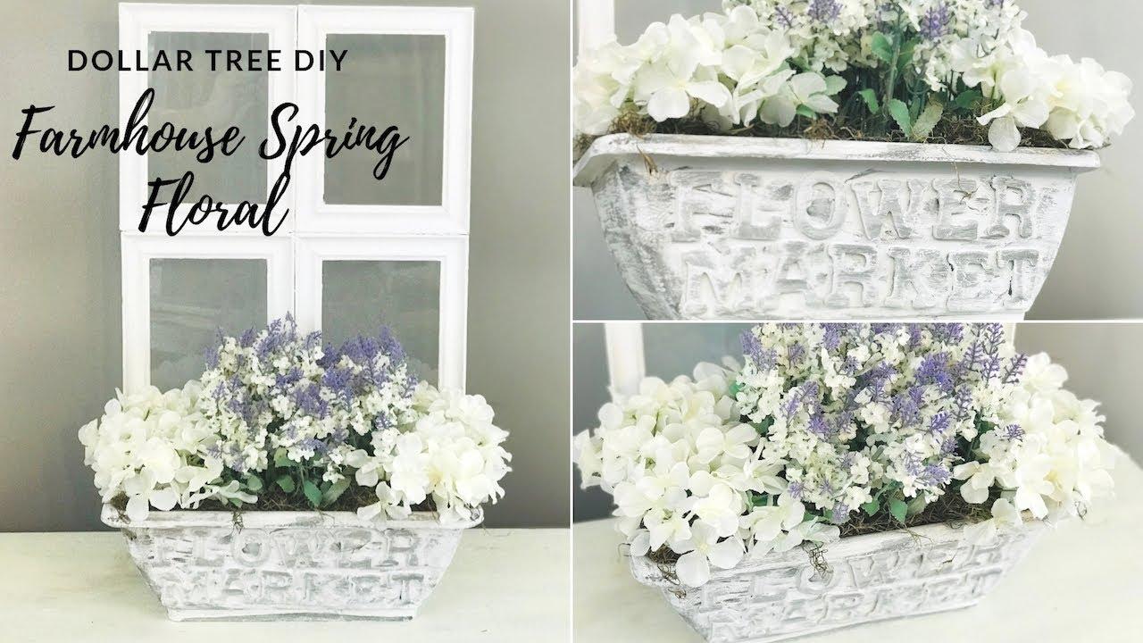 Dollar Tree Diy Farmhouse Spring Floral Decor Youtube