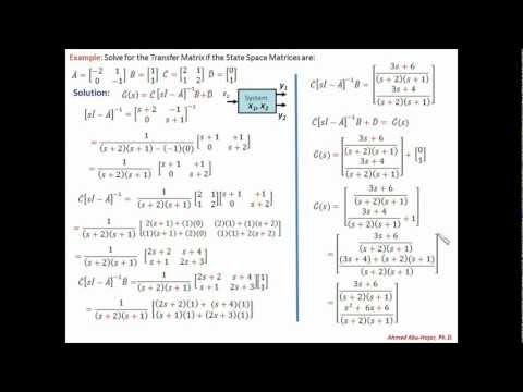 Transfer Matrix Example: Linear Control Theory