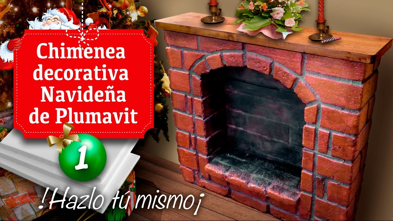 Chimenea decorativa navide a de plumavit for Como hacer chimeneas decorativas