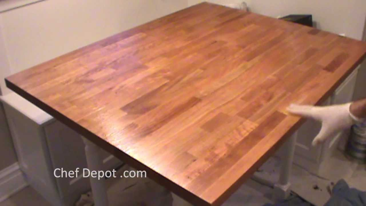 Refinishing Butcher Block Kitchen Table : refinish butcher block - YouTube
