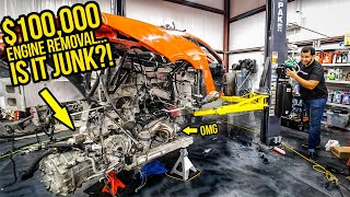 Removing The $100,000 Engine From My Wrecked Mclaren 675LT (Revealed MORE HIDDEN DAMAGE)