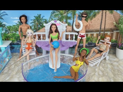 Thumbnail: Frozen Elsa Pool Party Barbie Pool Party with Anna & Kellyバービー人形プールパーティーBarbie Elsa Festa na Piscina