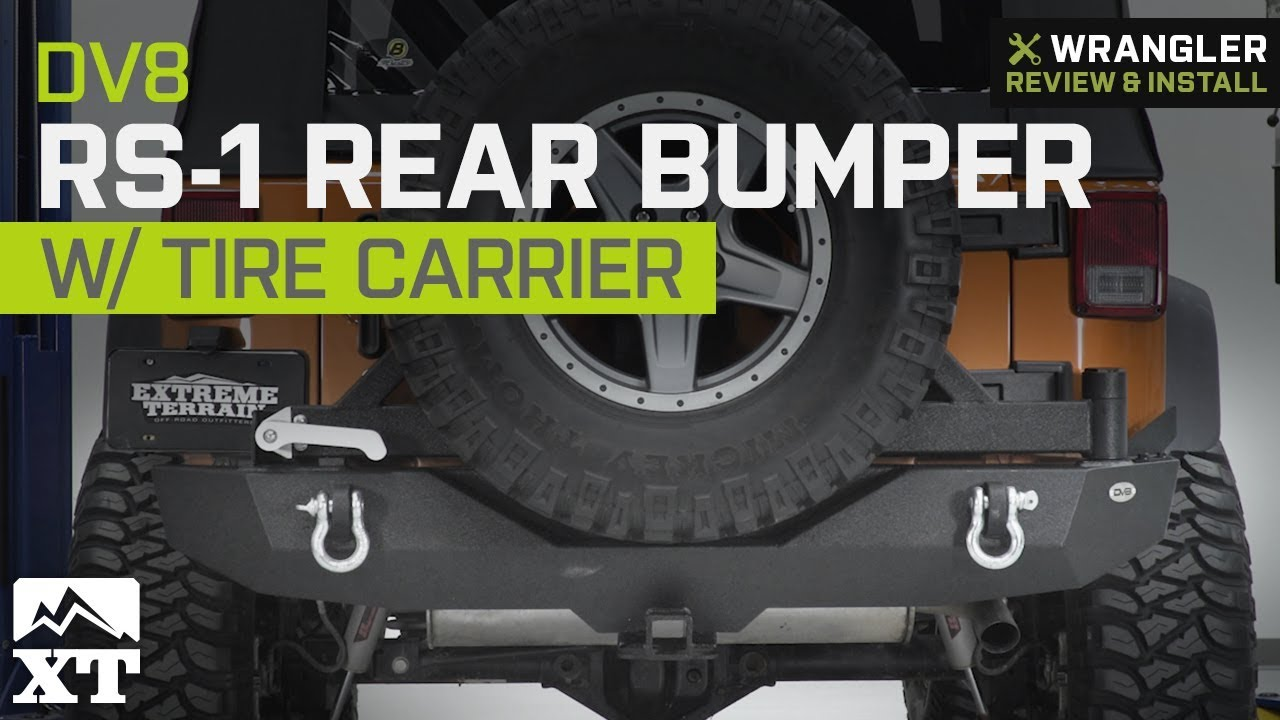 medium resolution of jeep wrangler jk dv8 rs 1 rear bumper w tire carrier tapered bearing 2007 2018 review install