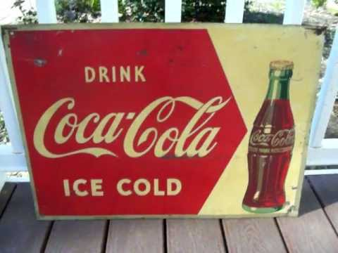 1950s Coca Cola Metal Sign Vintage Coke Sign For Sale