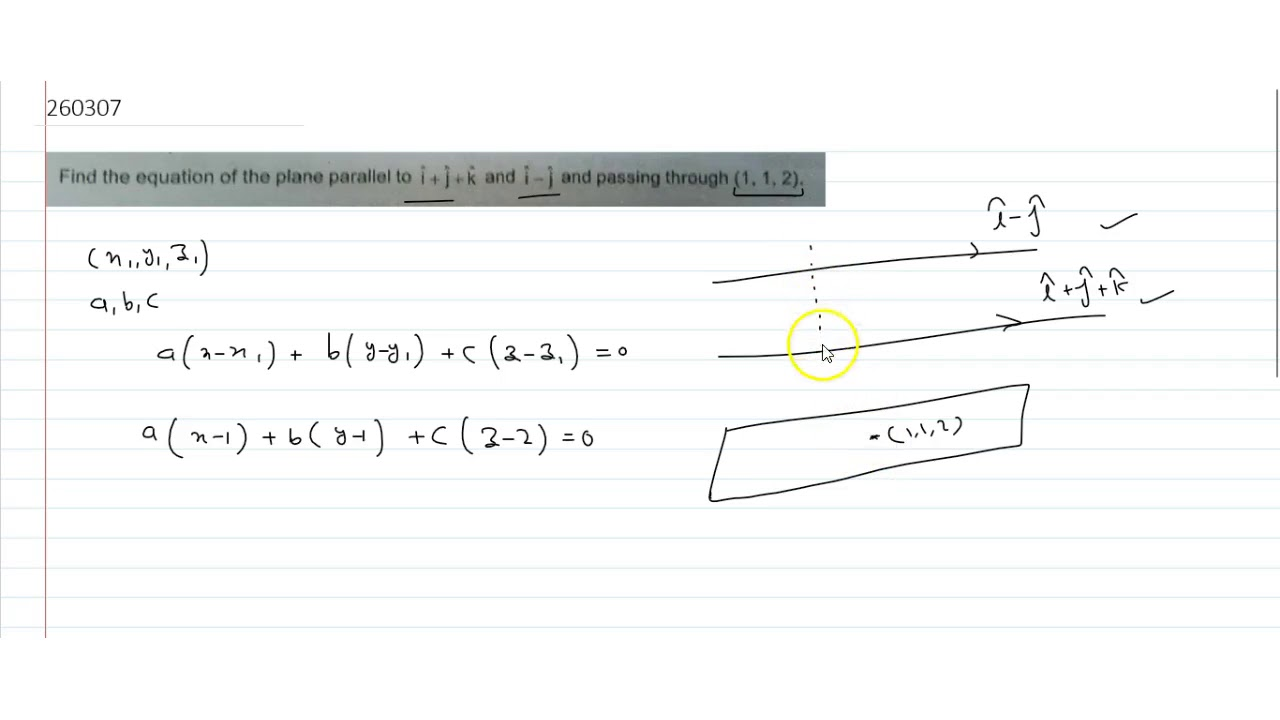 Find The Equation Of The Plane Parallel To Hat Ihat Jhat K And
