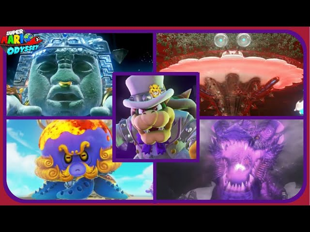 Super Mario Odyssey - All Boss Encounters - No Damage!!