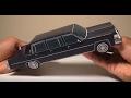 JCARWIL PAPERCRAFT 1980 Cadillac Fleetwood Funeral Six-Door Limo (Building Paper Model Car)
