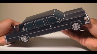 JCARWIL PAPERCRAFT 1980 Cadillac Fleetwood Funeral Six-Door Limo (Building Paper Model Car)