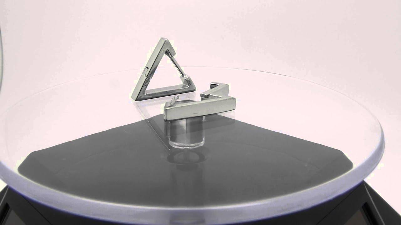Mens Triangle Huggie Hoop Earrings Video E233sw