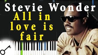 Stevie Wonder - All in love is fair [Piano Tutorial] Synthesia | passkeypiano