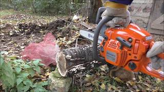 Husqvarna 135 chainsaw unboxing and first try