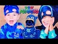 PJ Masks CATBOY STUCK IN JUMP CASTLE? Night Ninja Trouble For Catboy