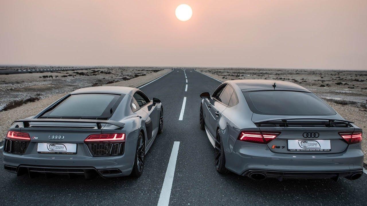 Can A Tuned Rs7 Take On The Mighty R8 2018 Audi R8 V10 Plus 610hp V10 Details Nardo Gray Red
