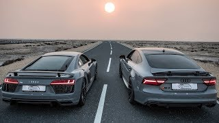 CAN A TUNED RS7 TAKE ON THE MIGHTY R8? - 2018 AUDI R8 V10 Plus 610hp/V10  details Nardo gray / red