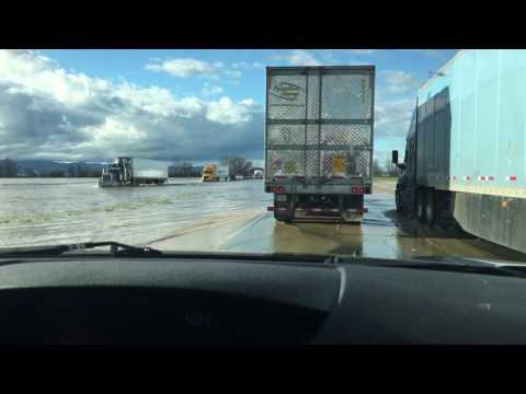 I-5 Flooded at Williams CA, Freeway backup 14 miles 2-18-17