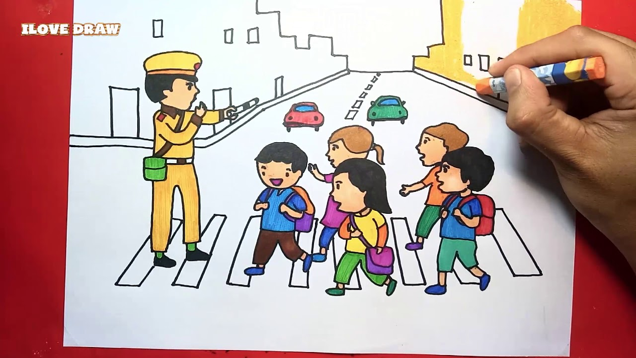 Vẽ Tranh Chủ Đề Giao Thông  - Vẽ Tranh An Toàn Giao Thông - Dạy vẽ tranh an toàn giao thông