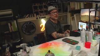 adding Fluorescent spray paint to Stone Coat
