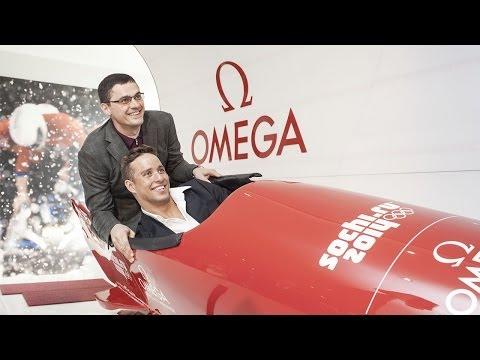 Chad le Clos and Alexander Popov at the OMEGA Pavilion at Sochi 2014