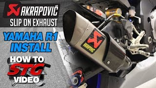Akrapovic Slip On Exhaust Install on a 2015-2018 Yamaha R1 from Sportbiketrackgear.com