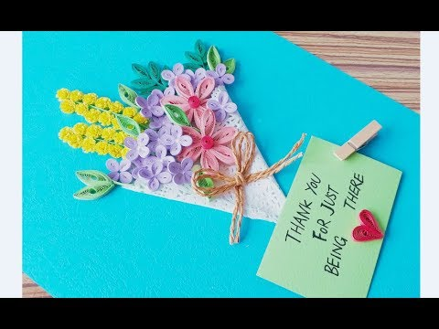 DIY Paper quilling Flower Card Design 41 // Quilling flower // Greeting Card
