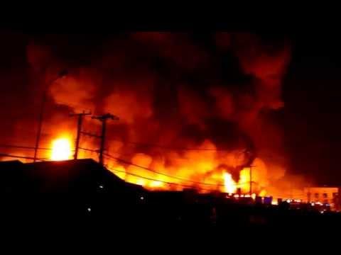 Fire in Vientiane# Laos Thong Khankham Market 26.4.2014