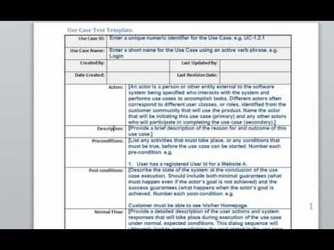 Use Case Text Template - YouTube - use case template