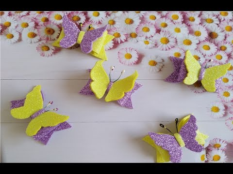 Бабочки из глиттерного фоамирана по шаблону