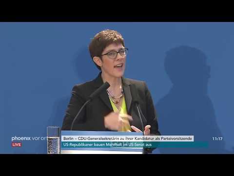 Annegret Kramp-Karrenbauer zu ihrer Kandidatur als Parteivorsitzende der CDU am 07.11.18