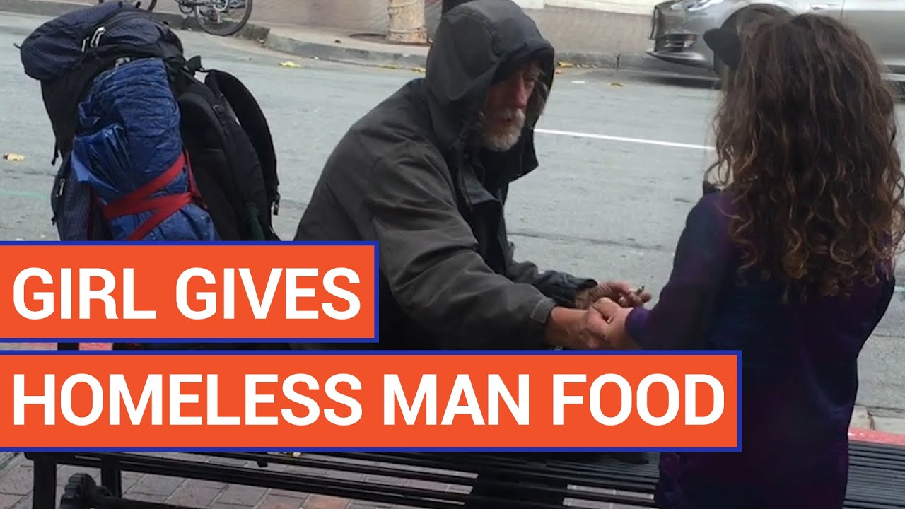Kind Little Girl Gives Her Food To A Homeless Man Video 2016 | Daily Heart Beat