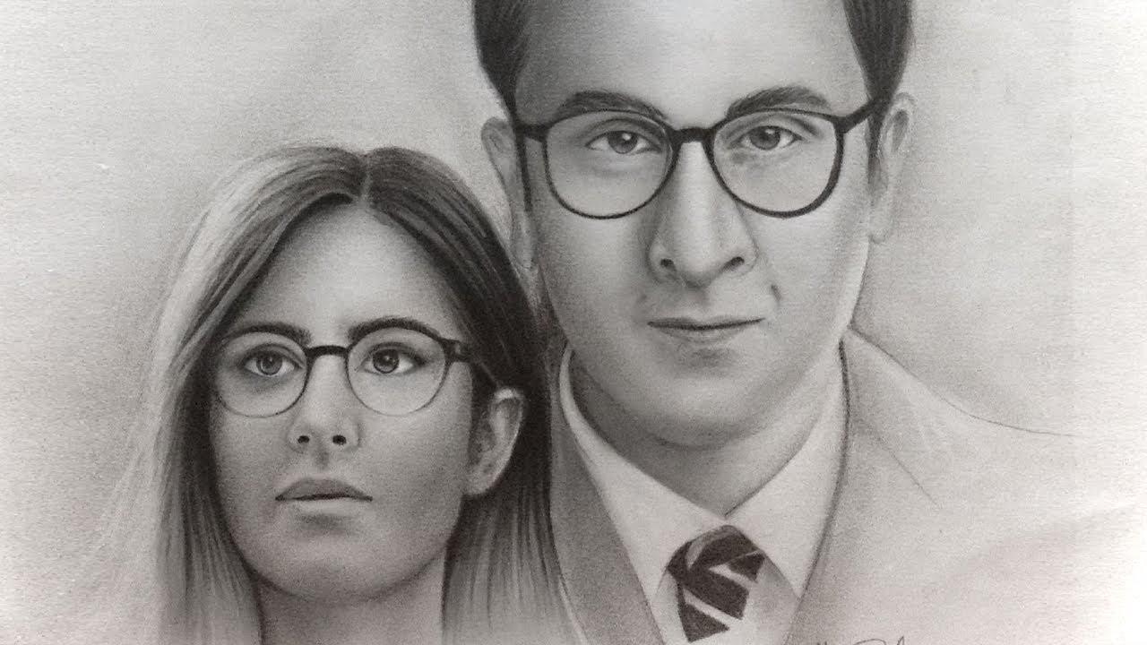 Drawing katrina kaif ranbir kapoor realistic pencil drawing jagga jasoos 2017