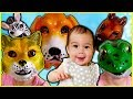 Cute Baby Amy Learns Animal Names with Funny Animal Masks