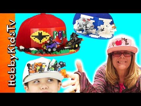 Lego Brick HATS! Brick Gear + Batman and Star Wars. Minecraft Building with HobbyKidsTV