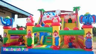 bermain di Istana Balon Doraemon Odong odong Mainan Anak ban...