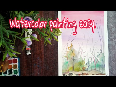 watercolor painting easy 😍 #watercolor #painting #art #landscapepainting #drawing #artist #mohitart