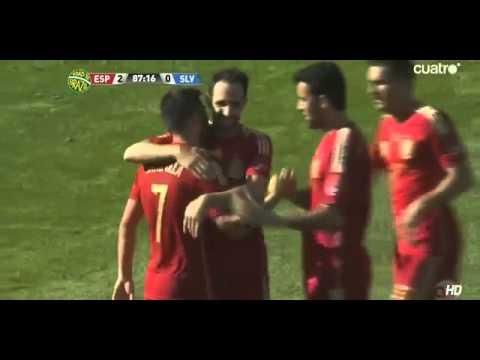David Villa 2nd Goal Spain vs El Salvador 2-0 HD 08-06-2014