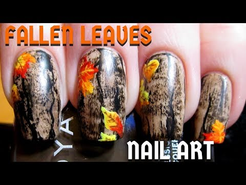 Easy Fallen Leaves on Wood DIY Freehand Nail Art Tutorial