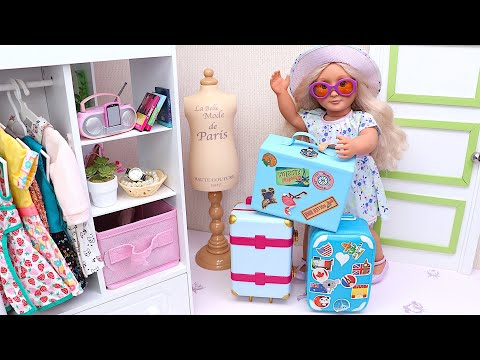 Baby doll is packing her bags for summer vacation! Family travel routine! Play Toys!