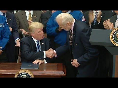 Buzz Aldrin Applauds As Trump Signs Space Council Executive Order