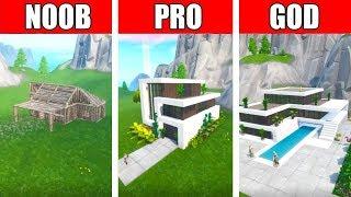 Fortnite NOOB vs PRO vs GOD: MODERN LUXURY HOUSE BUILD CHALLENGE in Fortnite