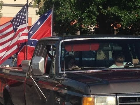 Confederate flag Parade  In Dalton, Georgia Highlight and Car crash.
