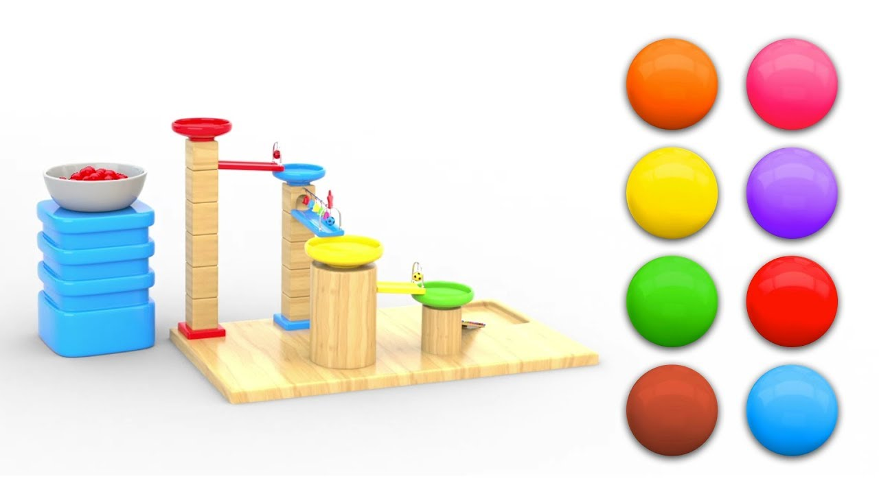 Learn Colors for Children with Baby Fun Play Wooden Marble Maze Run Color Balls for Toddlers