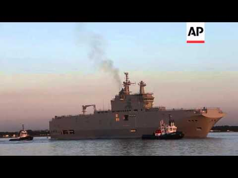 French-made helicopter carrier destined for Russia gets first test run