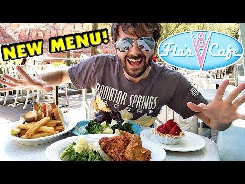 Flo's V8 Cafe NEW MENU! Cars Land Food! Disney California Adventure!