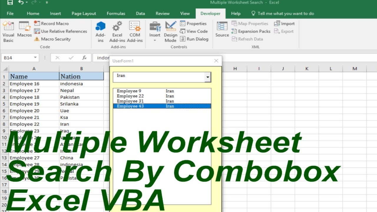 Multiple Worksheet Search by combobox excel VBA