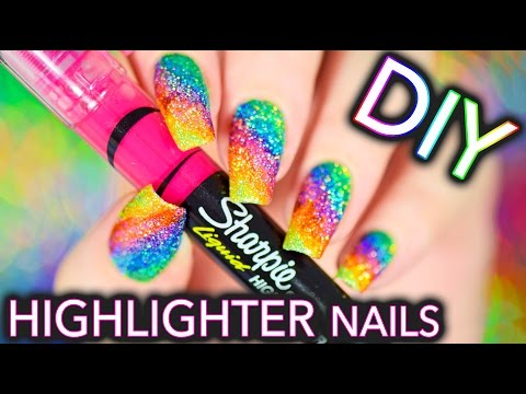 DIY Sparkly Highlighter Rainbow nails!!!