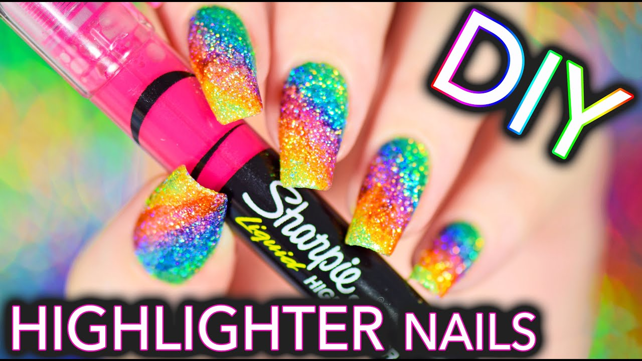 DIY Sparkly Highlighter Rainbow nails!!! - YouTube
