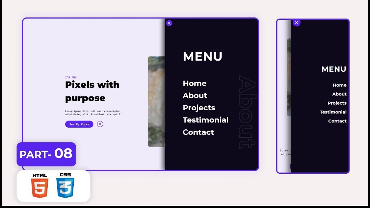 Portfolio Website Project for Practice | Part-08 | Nav Menu | HTML & CSS Project